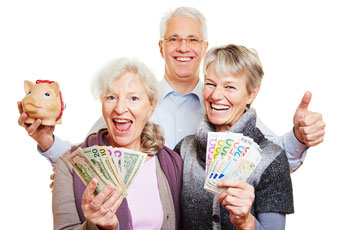Happy senior people with dollar bills, Costa Rica Dental Solutions